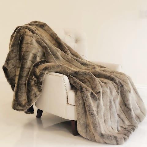 Plutus Frost Mink Dark Brown Faux Fur Luxury Blanket