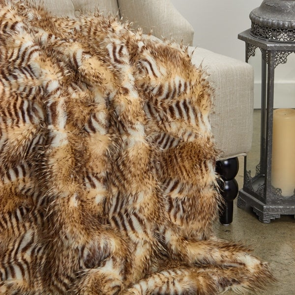 Plutus Porcupine Beige Faux Fur Luxury Blanket
