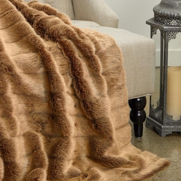 Plutus Frost Mink Light Brown Faux Fur Luxury Blanket