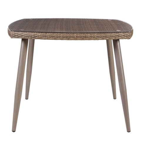 Madison Park Henke Grey Outdoor Dining Table with Tempered Glass