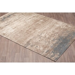 Vestige Handmade Chenille Cotton Grey Beige Abstract Rug - 4' x 6'