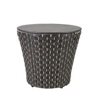 Madison Park Coulter Dark Grey Outdoor Wicker Basketweave Drum Table