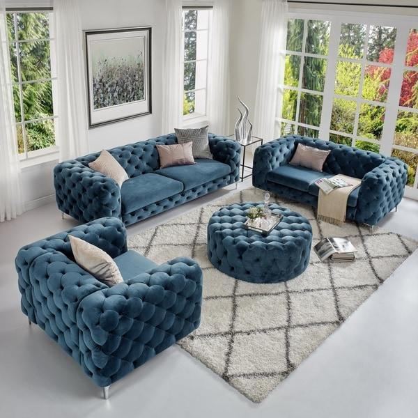 Corvus Aosta Tufted Velvet Sofa Living Room Chesterfield Set with Ottoman