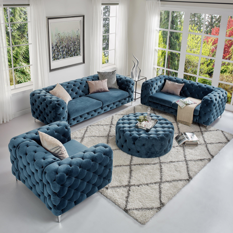 Corvus Aosta Tufted Velvet Sofa Living Room Set With Ottoman