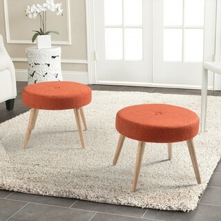 Set of 2 Round Fabric Stools Rubber Wood Legs Ottoman
