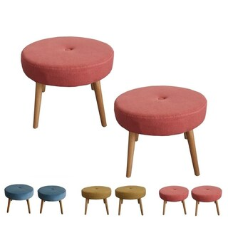 Set of 2 Round Fabric Stools Rubber Wood Legs Ottoman (Option: Red)