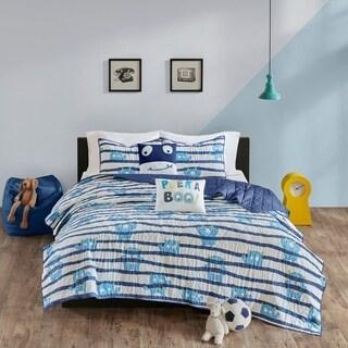 Urban Habitat Kids Boo Blue Cotton Printed Coverlet Set