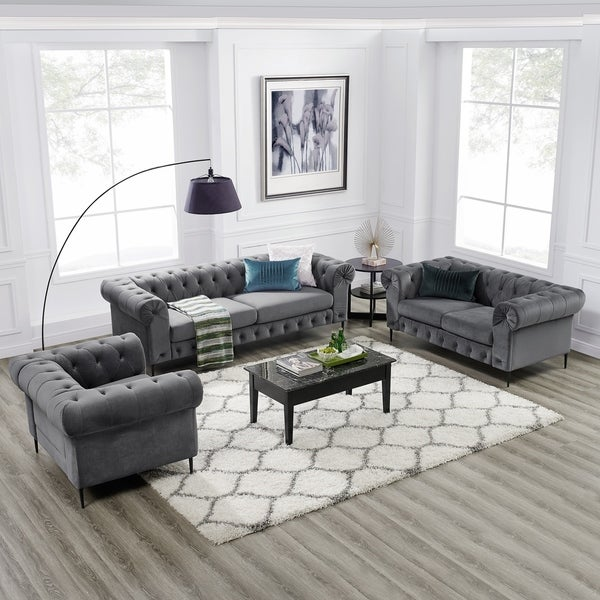 Shop Corvus Prato 3-piece Tufted Velvet Sofa Living Room