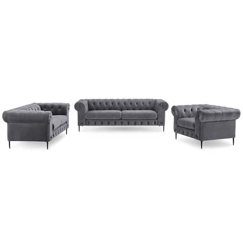 Corvus Prato 3-piece Tufted Velvet Sofa Rolled Arms Living Room Set