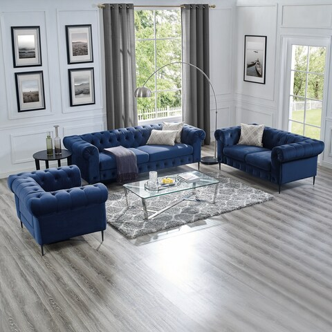 Corvus Prato 3-piece Tufted Velvet Sofa Living Room Set with Rolled Arms