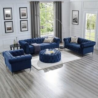 Corvus Prato Velvet Rolled Arm Sofa and Ottoman Living Room Set