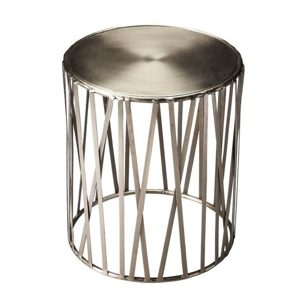Shop Offex Kruse Iron Round Drum Table Silver Free Shipping