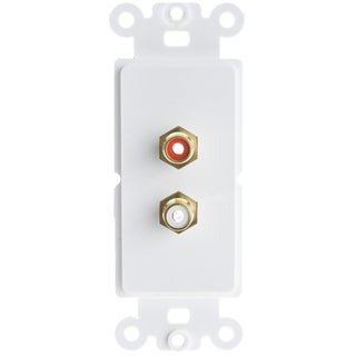 Offex Decora Wall Plate Insert, White, RCA Stereo Couplers (Red/White), 2 RCA Female