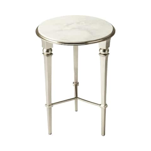 Butler Darrieux Marble Round End Table - Silver