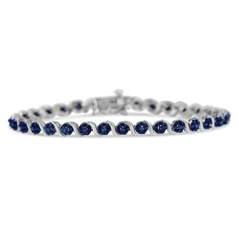 Sterling Silver 1ct TDW Rose Cut Diamond Spiral Link Bracelet (Blue, I1-12)