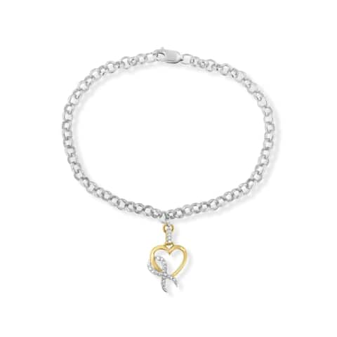 10k Yellow Gold-Plated and Sterling Silver .10 ct. TDW Diamond Heart Charm Bracelet (H-I,I1-I2)