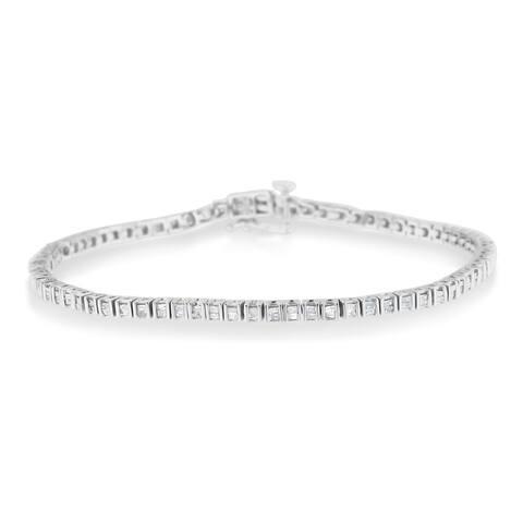 Sterling Silver 1ct TDW Baguette Diamond Link Bracelet (H-I,I2-I3)