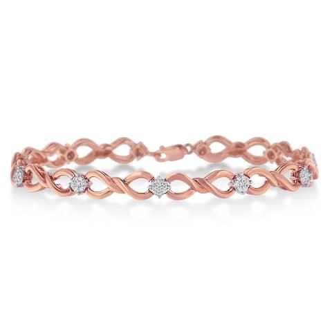 Rose plated Sterling Silver 0.50ct TDW Diamond Link Bracelet(H-I, I2-I3)
