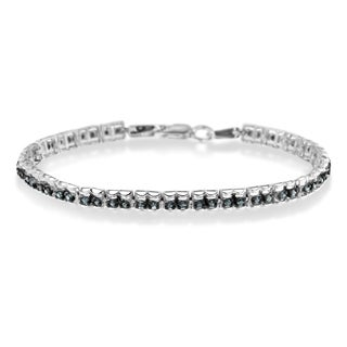 Sterling Silver 1ct TDW Color Treated Double-Link Diamond Tennis Bracelet (Blue, I1-I2)