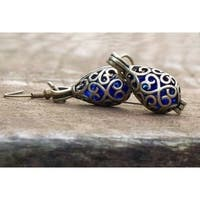 Handmade Recycled Vintage 1960's Cobalt Face Cream Jar Brass Filigree Teardrop Earrings (United States)