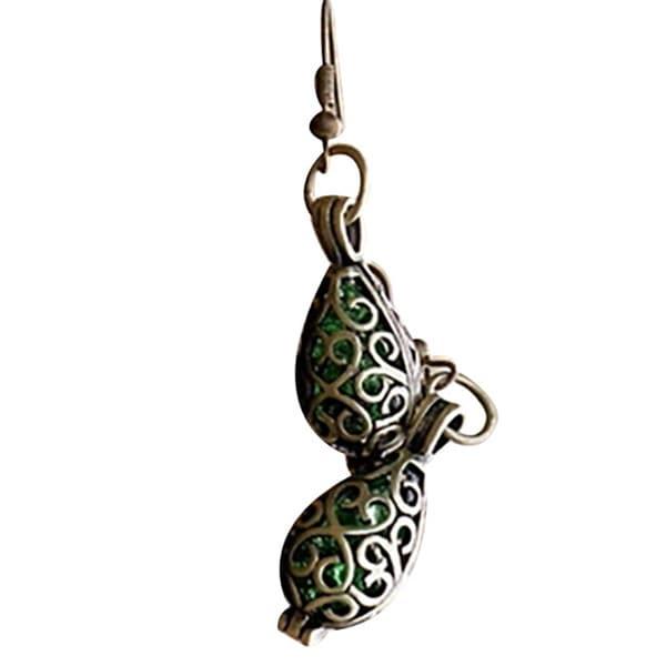 Handmade Recycled Vintage Emerald Beer Bottle Brass Filigree Teardrop Earrings (United States)