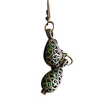 Handmade Recycled Vintage Emerald Beer Bottle Brass Filigree Teardrop Earrings (United States)