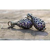 Handmade Recycled Vintage Amethyst Glass Bottle Brass Filigree Teardrop Earrings (United States)