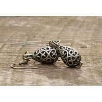 Handmade Recycled Black Depression Glass Brass Filigree Teardrop Earrings (United States)