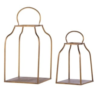 Set of 2 King Cottage Lanterns, L:13x13x20.5, S:10x10x15 inches