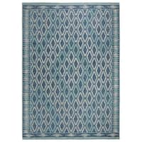 Safavieh Courtyard Modern & Contemporary Navy / Aqua Indoor Outdoor Rug - 8' X 11'