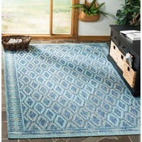 Safavieh Courtyard Modern & Contemporary Navy / Aqua Indoor Outdoor Rug - 9' x 12'