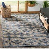 Safavieh Courtyard Modern & Contemporary Grey / Navy Indoor Outdoor Rug - 9' x 12'