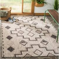 Safavieh Courtyard Modern & Contemporary Grey / Black Indoor Outdoor Rug - 8' X 11'