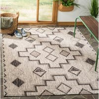 Safavieh Courtyard Modern & Contemporary Grey / Black Indoor Outdoor Rug - 9' x 12'