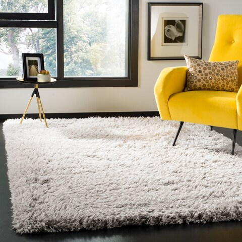 Safavieh Flokati Shag Modern & Contemporary Silver Polyester Rug - 9' x 12'