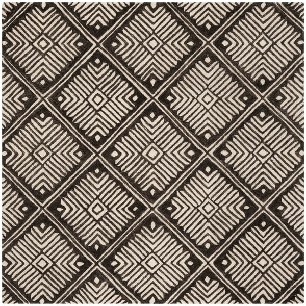 Safavieh Hand-Tufted Cambridge Modern & Contemporary Ivory / Charcoal Wool Rug - 6' x 6' Square
