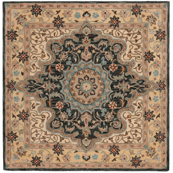Safavieh Hand-Tufted Heritage Traditional Cream / Black Wool Rug - 6' Square