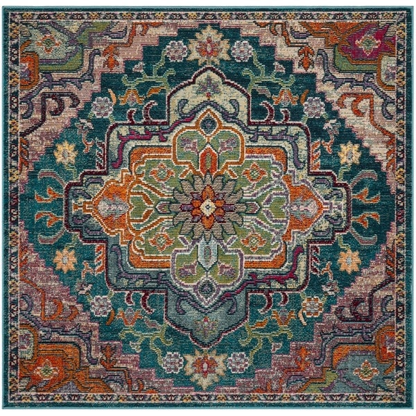 Safavieh Crystal Vintage Teal / Rose Rug - 5' Square