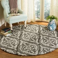 Safavieh Hand-Tufted Blossom Modern & Contemporary Charcoal / Ivory Wool Rug - 6' x 6' Round