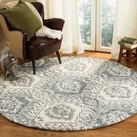 Safavieh Hand-Tufted Blossom Modern & Contemporary Blue / Ivory Wool Rug - 6' x 6' Round