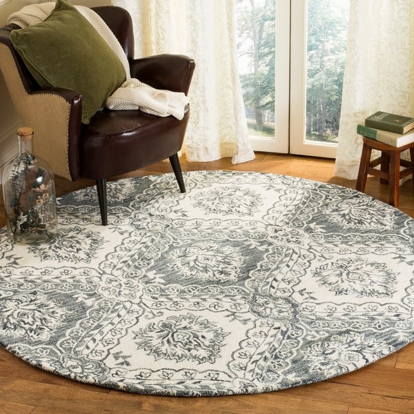 Safavieh Hand-Tufted Blossom Modern & Contemporary Blue / Ivory Wool Rug - 6' Round
