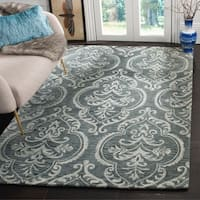 Safavieh Hand-Tufted Blossom Modern & Contemporary Blue / Sage Wool Rug - 6' Round