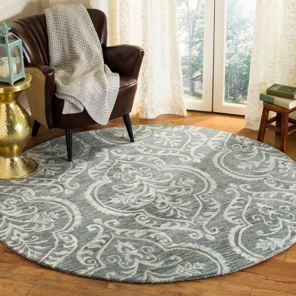 Safavieh Hand-Tufted Blossom Modern & Contemporary Blue / Sage Wool Rug - 6' Round