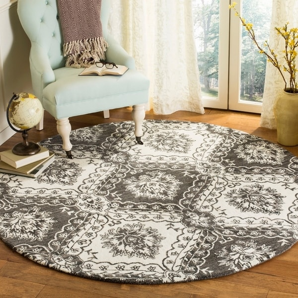 Safavieh Hand-Tufted Blossom Modern & Contemporary Charcoal / Ivory Wool Rug - 6' Round