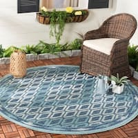 Safavieh Courtyard Modern & Contemporary Navy / Aqua Indoor Outdoor Rug - 7' Round