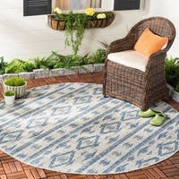 "Safavieh Courtyard Modern & Contemporary Grey / Navy Indoor Outdoor Rug - 6'7"" x 6'7"" round"
