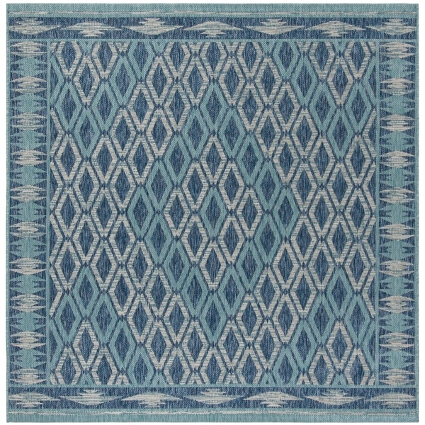"Safavieh Courtyard Modern & Contemporary Navy / Aqua Indoor Outdoor Rug - 6'7"" x 6'7"" square"