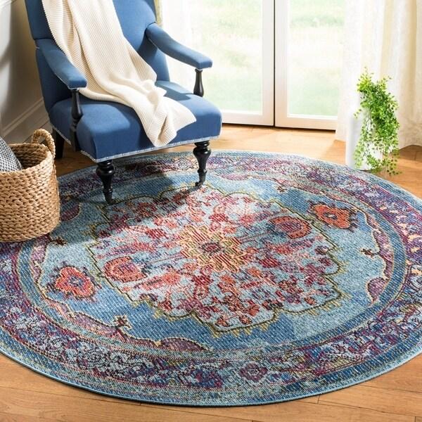 Safavieh Harmony Vintage Blue / Purple Rug - 7' x 7' Round