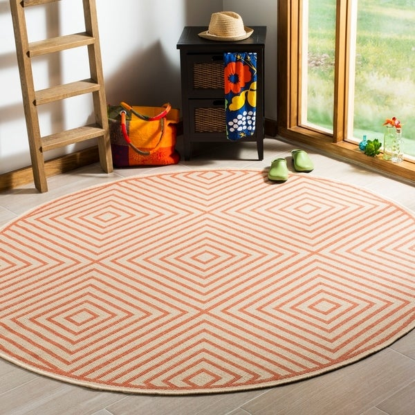 "Safavieh Linden Modern & Contemporary Cream / Rust Rug - 6'7"" x 6'7"" round"