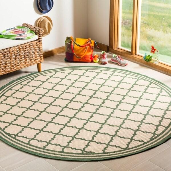 Safavieh Linden Modern & Contemporary Cream / Green Rug - 6' Round